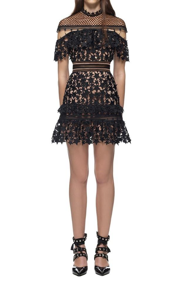 wedding photo - Self Portrait Yoke Frill Star Lace Mini Dress