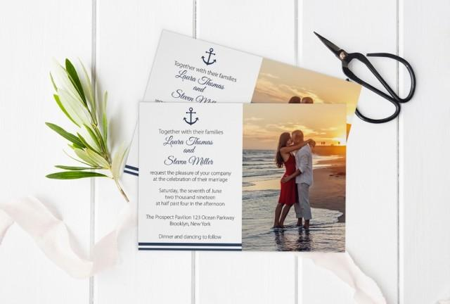 wedding photo - Photo Wedding Invitation Template, Nautical Printable Photo Wedding Invitate, LDS Wedding Invitation, Editable PDF Templates, DIY You Print by DIYprintable