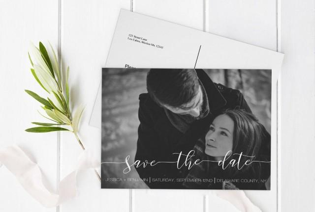 wedding photo - Calligraphy Photo Save the Date Postcard, Printable Photo Save Date Postcard, Custom Save the Dates Photo Card, Editable PDF, DIY You Print - $13.00 EUR