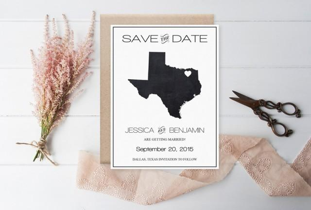 wedding photo - Chalkboard Texas Save the Date Template, Texas State Map Wedding Save the Date Printable Editable PDF Template Download, DIY You Print by DIYprintable