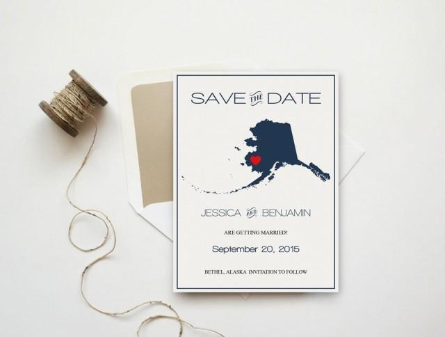 wedding photo - Alaska Save the Date Template, Alaska State Map Wedding Save the Date Printable Editable PDF Template Download, DIY You Print by DIYprintable