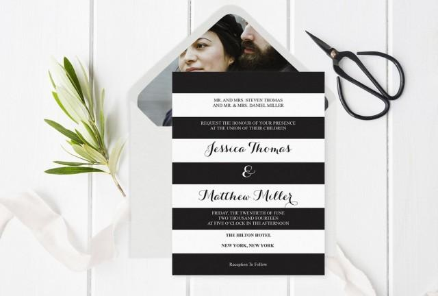 wedding photo - Black & White Striped Wedding Invitation with Envelope Liner Templates