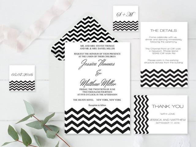 wedding photo - Black Chevron Wedding Invitation Suite Templates