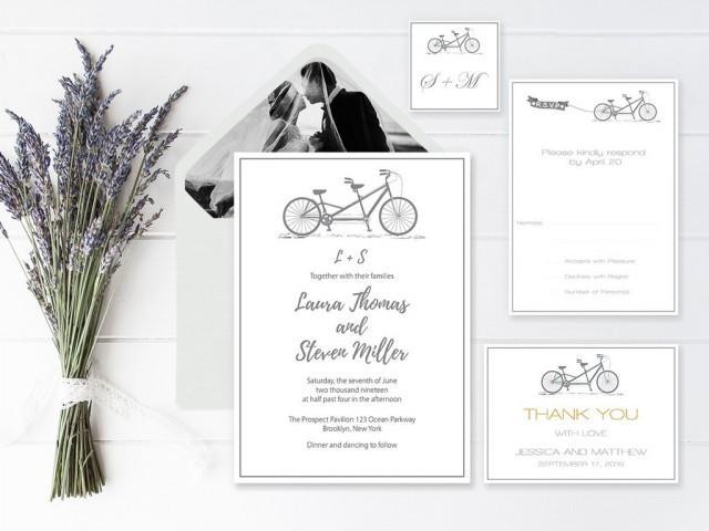 wedding photo - Gray Tandem Bike Wedding Invitation Suite Templates