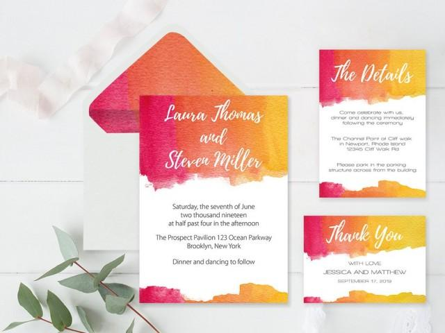 wedding photo - Watercolor Wedding Invitation Suite Templates Envelope Liners