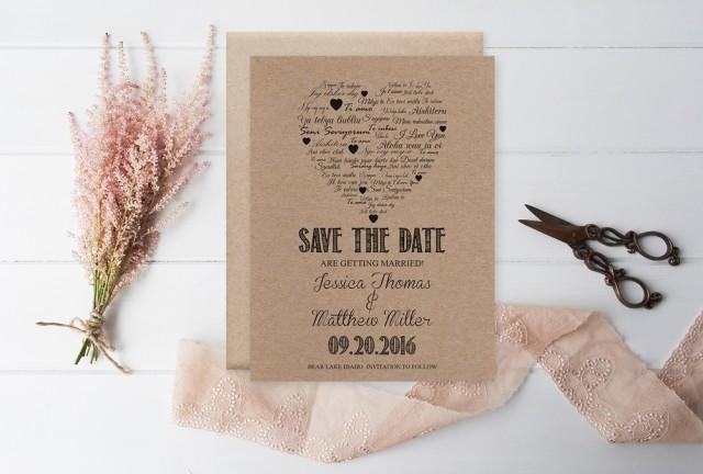wedding photo - Kraft Paper Save the Date Template, I Love You other Languages Heart, Rustic Printable Wedding Save the Date PDF Templates, Editable PDF, DIY You Print by DIYprintable