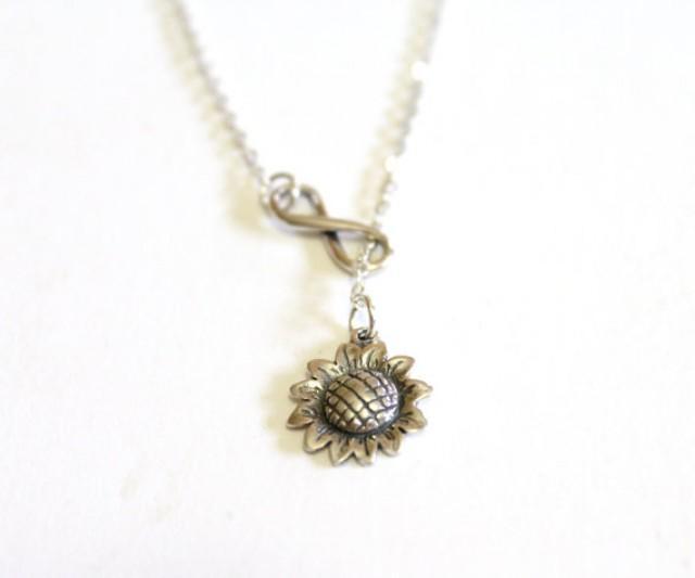 wedding photo - Sunflower Necklace, Infinity Necklace, Bridesmaid gift idea, Bridal jewelry, Bridesmaid necklace, Wedding gift, Christmas gift, Gift