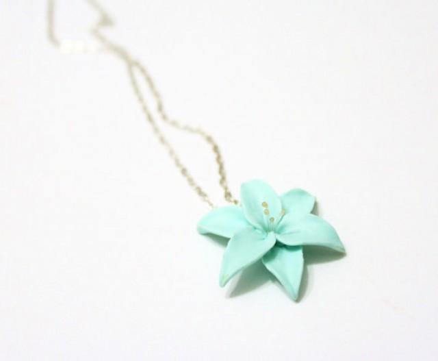 wedding photo - Mint Lily flower necklace, delicate necklace for her gifts, Spring Jewelry, Wedding Jewelry Gift