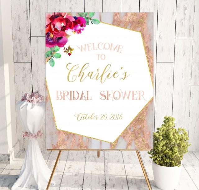 wedding photo - Download Bridal Shower Welcome Sign Printable Bridal Shower decoration Rose pink Bridal Shower banner marble Welcome Sign Shower idbs36 - $10.00 USD