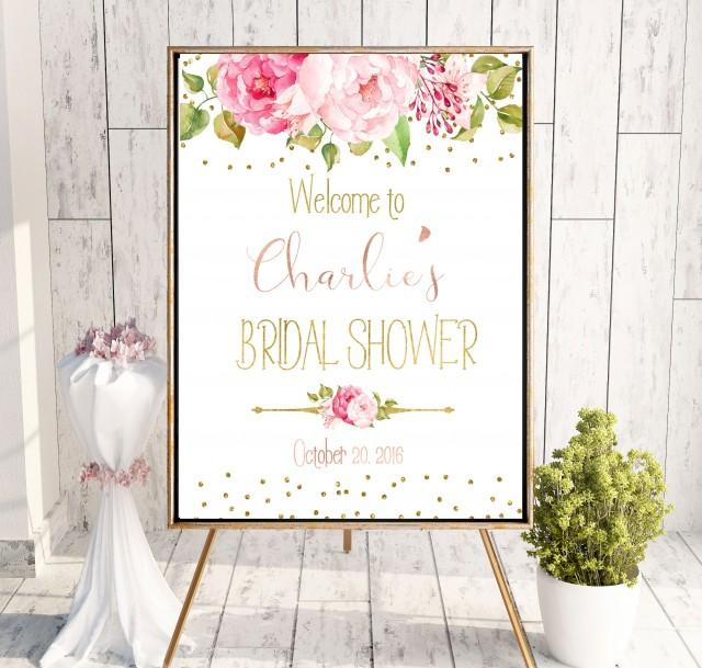 wedding photo - Peonies Bridal Shower Printable Welcome Sign Bridal Shower decor Instant Download Bridal Shower banner Welcome Sign Shower Blush Pink idbs11 - $10.00 USD