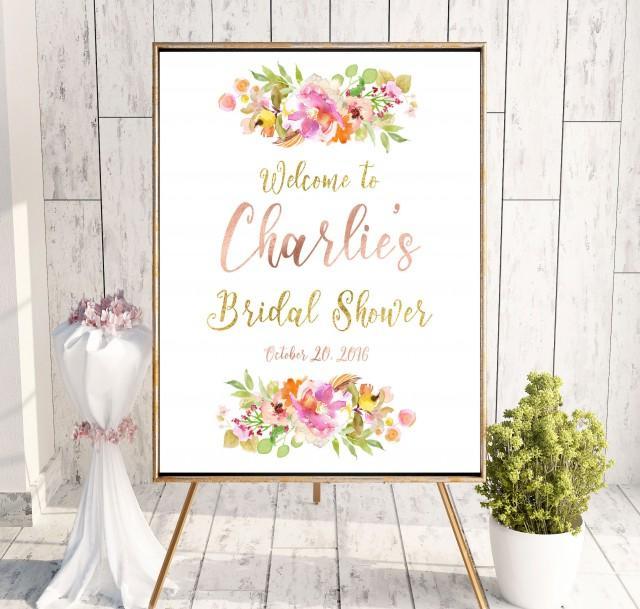 wedding photo - Instant Download Bridal Shower Welcome Sign Printable Bridal Shower decoration Pink Bridal Shower banner Welcome Sign Shower idbs30 - $10.00 USD