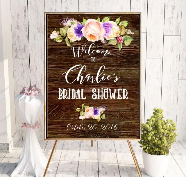wedding photo - Bridal Shower Welcome Sign Printable wooden Bridal Shower Instant Download Plum Bridal Shower banner Roses Welcome Sign Shower idbs21 - $10.00 USD