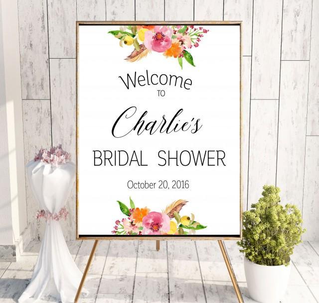 wedding photo - Instant Download Bridal Shower Printable Welcome Sign Bridal Shower decoration Bridal Shower banner Welcome Sign Shower Pink idbs20 - $10.00 USD