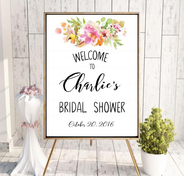 wedding photo - Bridal Shower Printable Welcome Sign Bridal Shower decoration Instant Download Bridal Shower banner Peonies Welcome Sign Shower Pink idbs21 - $10.00 USD