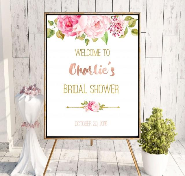 wedding photo - Bridal Shower Printable Welcome Sign Bridal Shower decor Instant Download Bridal Shower banner Peonies Welcome Sign Shower Blush Pink idbs10 - $10.00 USD