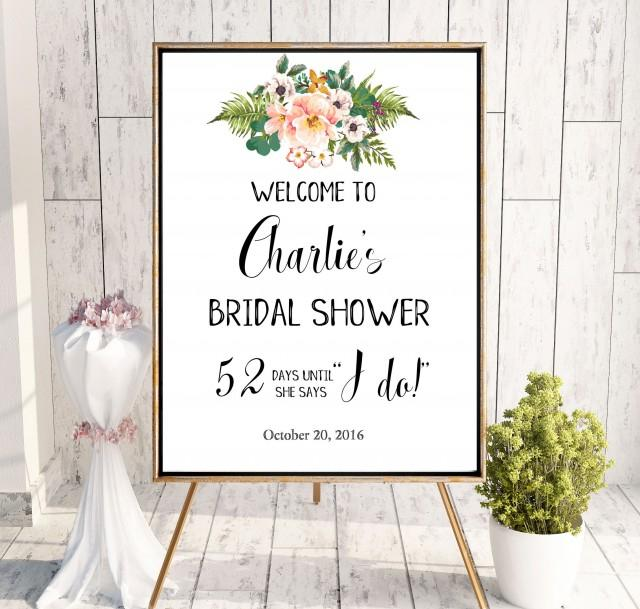wedding photo - Welcome Bridal Shower Sign Instant Download Sign Bridal Shower tropical decor Welcome decoration Printable Sign She Says I Do Sign idbs28 - $12.00 USD