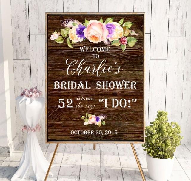 wedding photo - Instant Download Bridal Shower Welcome Sign Plum Bridal Brunch Sign Bridal Shower decor Wooden Welcome Printable Sign idbs17 - $12.00 USD
