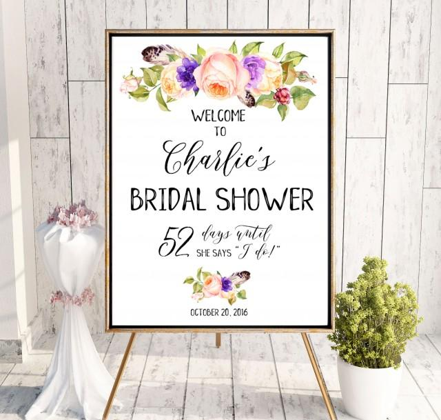 wedding photo - Welcome Bridal Shower Sign Download Bridal Brunch Plum Sign Bridal Shower DIY Welcome Gold Pink Printable Sign She Says I Do Sign idbs15 - $12.00 USD