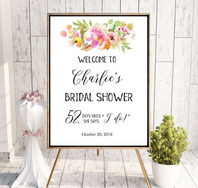 wedding photo - Welcome Bridal Shower Sign Instant Download Bridal Brunch Sign Bridal Shower DIY Welcome Gold Pink Printable Sign Says I Do Sign idbs22 - $12.00 USD