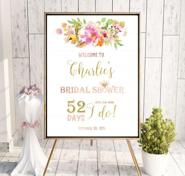 wedding photo - Instant Download Welcome Bridal Shower Sign Bridal Brunch Sign Bridal Shower DIY Welcome Gold Pink Printable Sign Says I Do Sign idbs24 - $12.00 USD