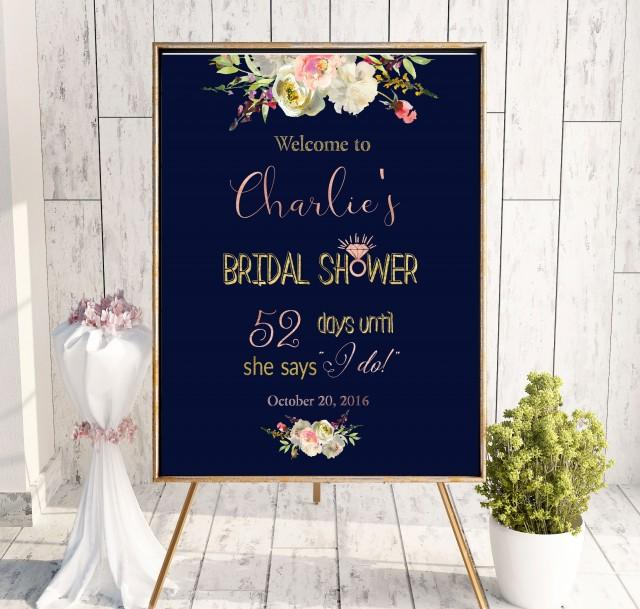 wedding photo - Navy Blue Bridal Shower Welcome Sign Bridal Brunch Sign Bridal Shower DIY Welcome Printable Sign Says I Do Sign Shower White idbs27 - $12.00 USD