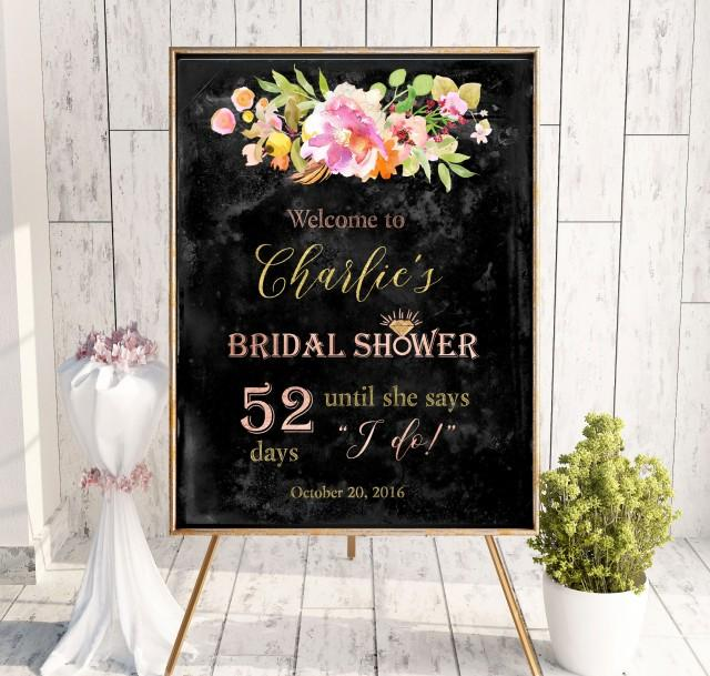 wedding photo - Chalkboard Bridal Welcome Shower Sign Bridal Brunch Sign Bridal Shower Instant Download Welcome Sign Says I Do Sign Shower Pink idbs23 - $12.00 USD