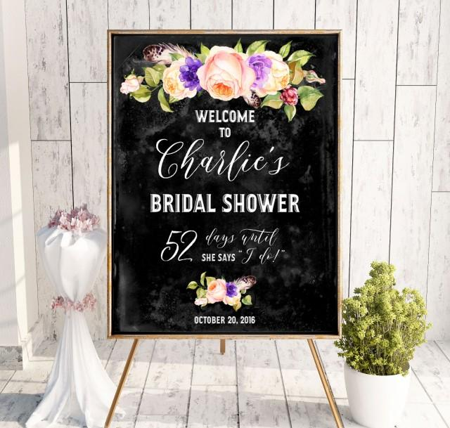 wedding photo - Chalkboard Bridal Shower Welcome Sign Bridal Brunch Sign Bridal Shower DIY Welcome Printable Sign Says I Do Sign Shower Pink idbs16 - $12.00 USD