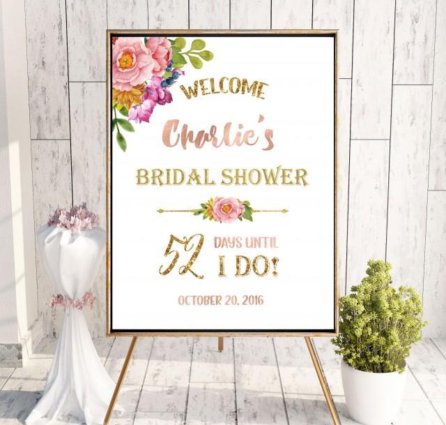 wedding photo - Countdown Bridal Shower Welcome Sign Bridal Brunch Sign Welcome Printable Sign Says I Do Sign Shower Pink Bridal Shower Banner idbs8 - $12.00 USD