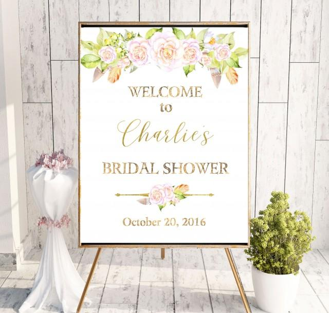 wedding photo - Printable Bridal Welcome Sign Shower Bridal Brunch Sign Boho Chick Welcome Sign Says I Do Sign Shower Blush Pink Roses Bridal Shower idbs13 - $10.00 USD