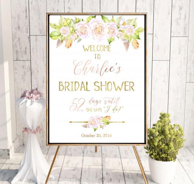 wedding photo - Boho Chick Bridal Shower Welcome Sign Bridal Brunch Sign Welcome Printable Sign Says I Do Sign Shower Blush Pink Roses Bridal Shower idbs14 - $12.00 USD