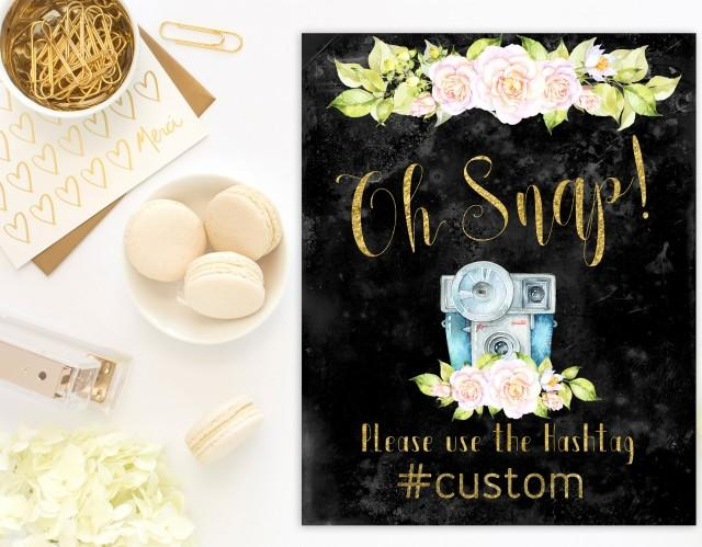 wedding photo - Wedding Hashtag Sign Oh snap Rustic Printable Wedding Instagram Sign Wedding Bridal Shower Hashtag Instagram Sign Custom order idwr11 - $8.00 USD