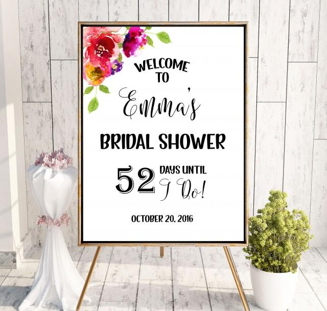 wedding photo - Bridal Shower Welcome Sign Garden Bridal Shower Welcome Countdown wedding sign Printable Sign Sign Shower pink Instant Download idbs6 - $12.00 USD