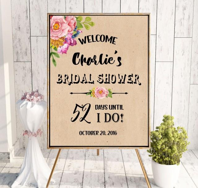 wedding photo - Bridal Shower Welcome Sign Countdown sign Kraft Welcome Printable Sign Says I Do Sign Shower pink Hashtag Bridal Shower Black white idbs5 - $12.00 USD