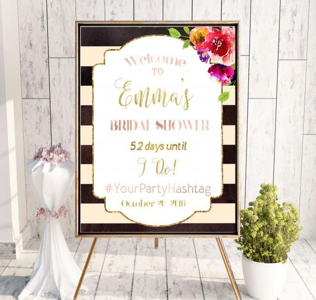 wedding photo - Bridal Shower Welcome Sign Bridal Brunch Sign Welcome Printable Sign Says I Do Sign Shower pink Hashtag Bridal Shower Black white idbs5 - $12.00 USD