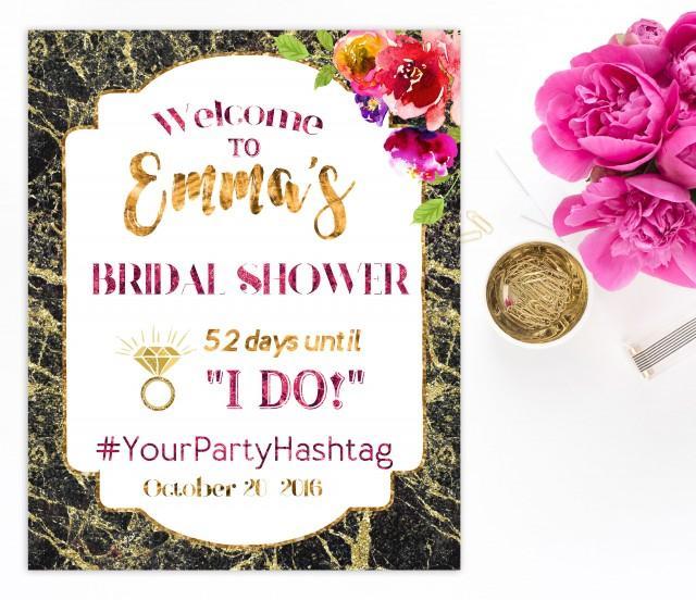 wedding photo - Welcome Bridal Shower Sign Bridal Brunch Sign Welcome Printable Sign she Says I Do Sign Shower Gold Hot pink Hashtag Bridal Shower idbs3 - $15.00 USD