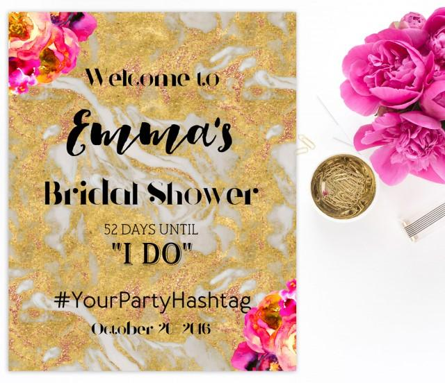 wedding photo - Welcome Bridal Shower Sign Bridal Brunch Sign Welcome Printable Sign Says I Do Sign Shower Hot pink gold Hashtag Bridal Shower marble idbs1 - $15.00 USD