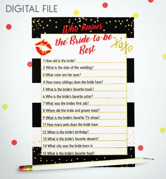 wedding photo - Who Knows The Bride Best Bridal Shower Game Black White stripes Bridal Game Red Gold Confetti Printable Bridal game Card Download idkbg6 - $5.50 USD