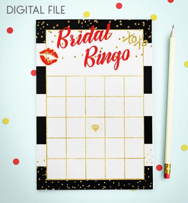 wedding photo - Bingo Game Download Bridal Bingo Red Gold Foil Confetti Bridal Shower Bingo Printable Bridal Shower Bingo Game Instant Download idkbg5 - $5.50 USD