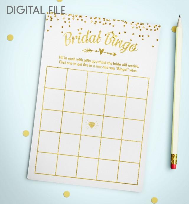 wedding photo - Bingo Game Download Bridal Bingo Gold Foil Confetti Bridal Shower Bingo Printable Bridal Shower Bingo Game Instant Download idkbg1 - $5.50 USD