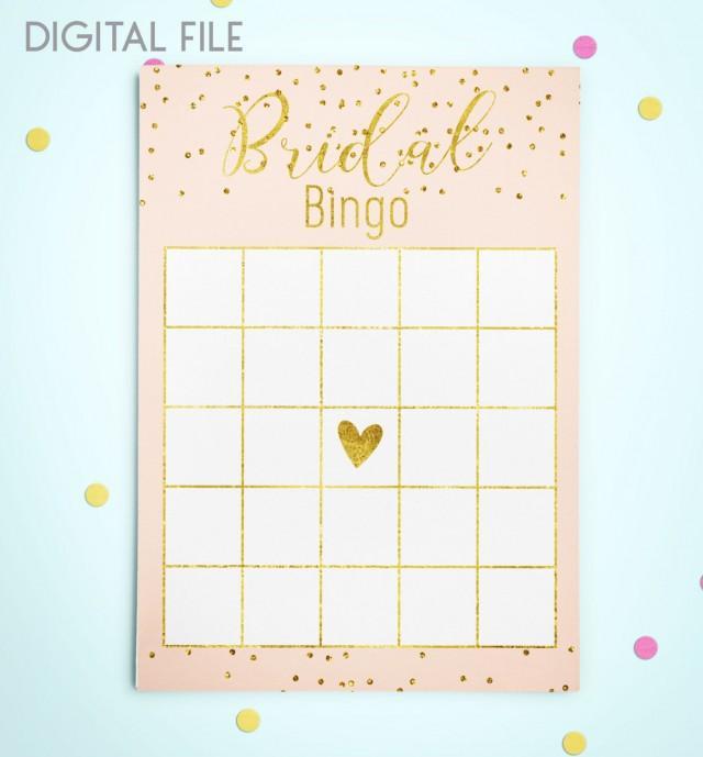 wedding photo - Bingo Game Download Bridal Bingo Gold Foil Confetti Bridal Shower Bingo Pink Printable Bridal Shower Bingo Game Instant Download idkbg2 - $5.50 USD