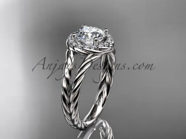 wedding photo - 14kt white gold halo rope diamond engagement ring RP8131