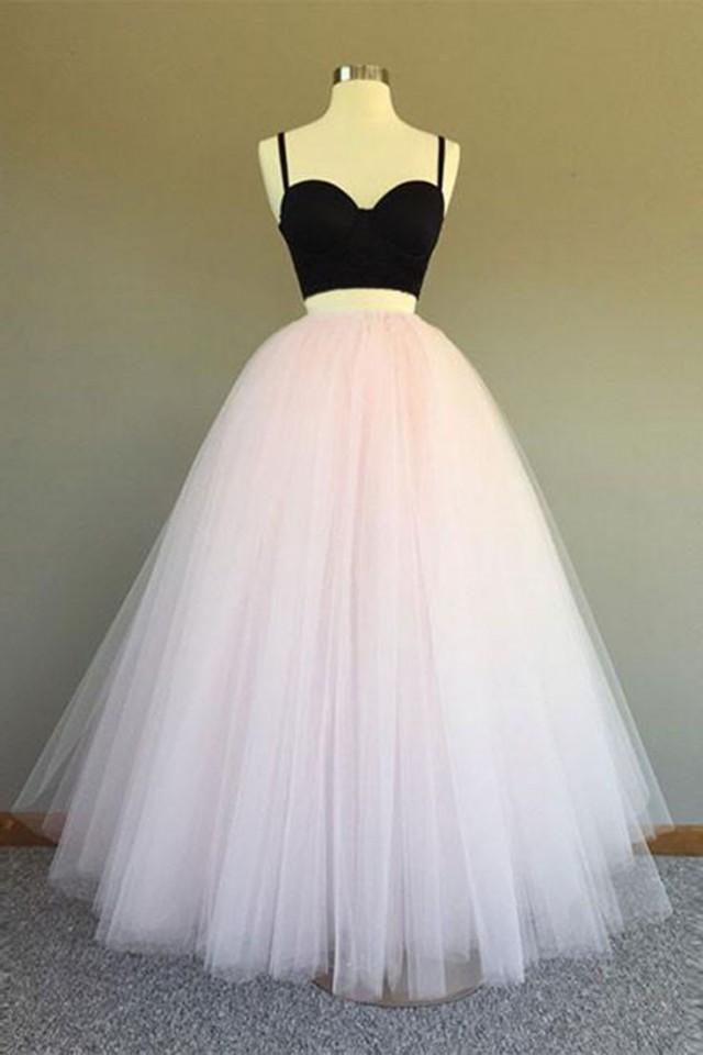 Pink Tulle Two Pieces Long Prom Dress, Sweetheart Party Dress From Sweetheart Dress