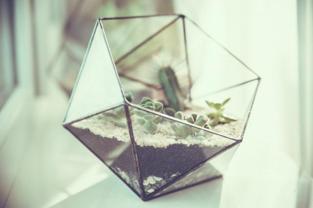 Small Icosahedron Terrarium Stained Glass Vase Planter for indoor gardening Candle holder Stained glass icosahedron