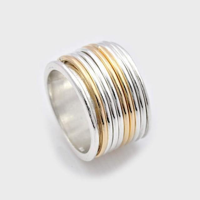 wedding photo - Silver worry ring, Silver and Gold Anxiety Ring, Meditation Ring, Multi-Band Spinning Ring, Silver Fidget Ring, wide spinner ring