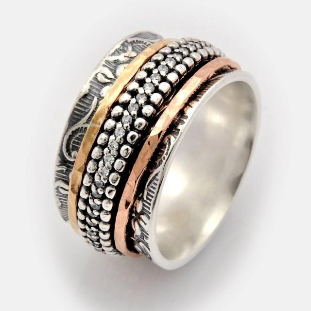 wedding photo - Gemstone Spinner, Anxiety Prayer Ring, Birthstone Jewellery, gold and silver ring, Cubic Zirconia Spinner Ring, Meditation Ring