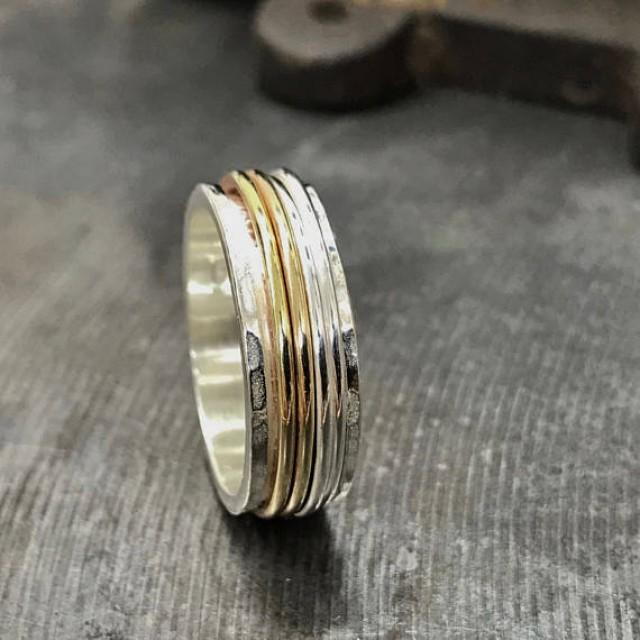 wedding photo - Multi-Band Spin Ring, Silver worry ring, Narrow spinner ring, Silver Fidget Ring, Silver and Gold Anxiety Ring, Meditation Ring, gift
