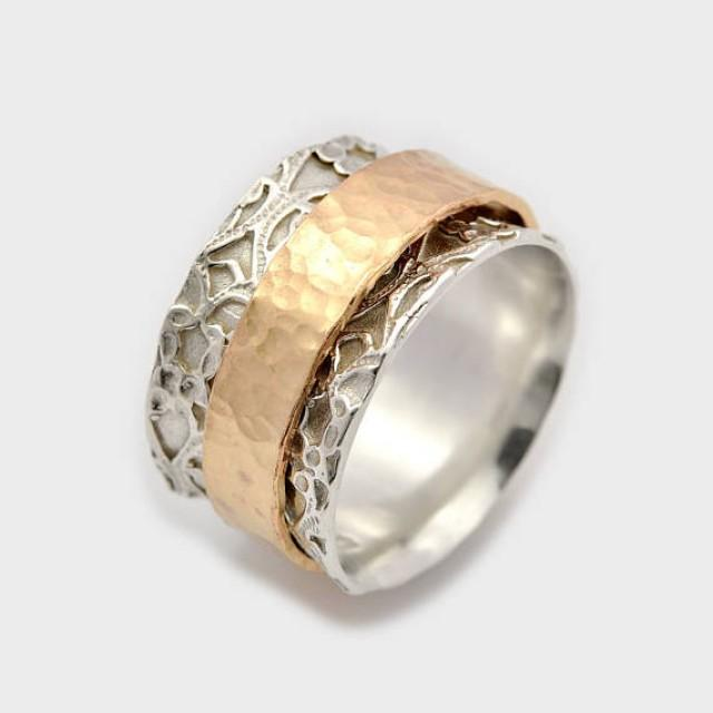 wedding photo - Wide rotating ring, Prayer ring, Gypsy ring, spinnable ring, Rotating gold ring, Swivel silver ring, Leaf worry ring, Israeli ring, gift