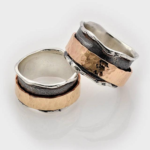 wedding photo - Fiddle ring, Stress ring, Fidget jewelry, Multi metal ring, Spin ring, Gold spinner ring, Rolling ring, Silver spinner ring, Wide Spin Ring