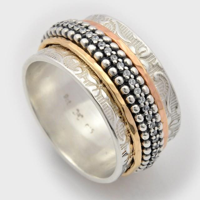 wedding photo - Double Sided Spinning Ring, Unique Double Sided Ring, Silver Spinner Ring, Woodland ring, gold and silver ring for women, unique ring