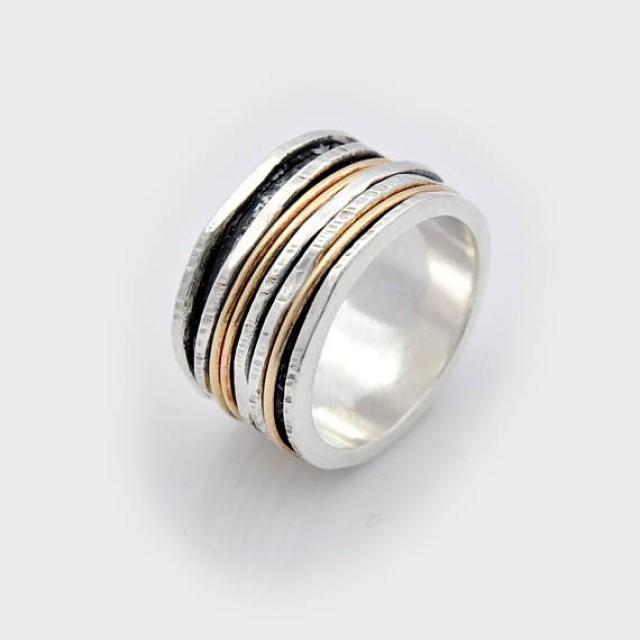 wedding photo - Wide spinning ring, unique wedding band, wide spinner ring, Handmade Silver and Gold wide Spinner Fidget Ring